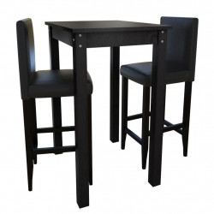 Masa de bar cu 2 scaune de bar, negru - V160726V