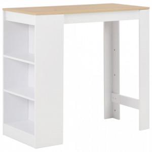 Masa de bar cu raft, alb, 110 x 50 x 103 cm - V280215V