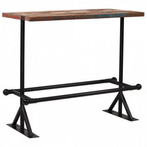 Masa de bar, lemn masiv reciclat, multicolor, 120 x 60 x 107 cm - V245387V