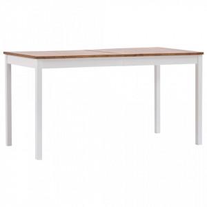 Masa de bucatarie, alb si maro, 140 x 70 x 73 cm, lemn de pin - V283402V