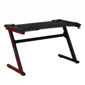 Masă de joc / masă pentru computer, cu iluminare LED RGB, negru / roşu, MACKENZIE 120cm