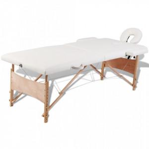 Masa de masaj pliabila 2 parti cadru din lemn Alb-Crem - V110078V