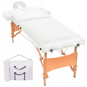 Masa de masaj pliabila cu 2 zone, 10 cm grosime, Alb - V110150V