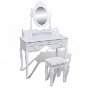 Masa de toaleta cu oglinda si taburet, 7 sertare, alb - V241002V