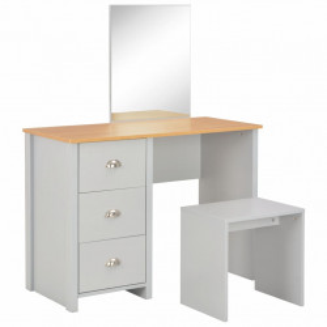 Masa de toaleta cu oglinda si taburet, gri, 104x45x131 cm - V283744V