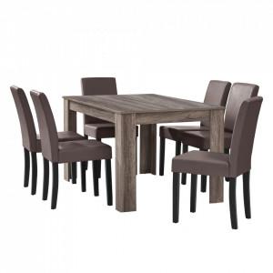 Masa eleganta Alma, MDF efect stejar - maro inchis, 140 x 90 cm - cu 6 scaune imitatie de piele, maro inchis/maro/ - P51957853