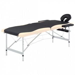 Masa pliabila de masaj, 2 zone, negru si bej, aluminiu - V110229V