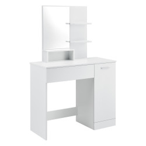 Masa toaleta/machiaj Krugersdorp DG, 137,5 x 90 x 38 cm, PAL melaminat, alb cu oglinda - P71488085