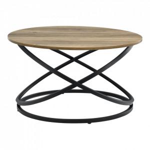 Masuta cafea Dona, 46 x 79 cm, PAL/metal, negru/culoarea lemnului, design rotund - P66225101