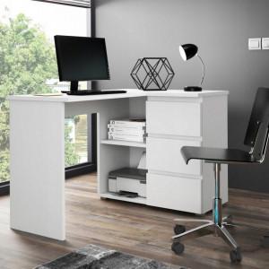 MBBI3 - Birou 124 cm, masa de calculator, office - Alb, Maro, Sonoma