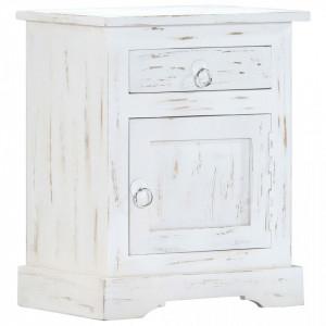Noptiera, alb, 40x30x50 cm, lemn masiv de mango - V247713V