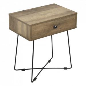 Noptiera cu sertar Berlin, 50,5 x 45 x 29,5 cm, PAL/metal, negru/culoarea lemnului, 10 Kg - P66225099