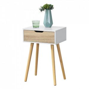 Noptiera Ostersund, 60 x 40 x 29,5 cm, PAL/PVC, alb/stejar, cu 1 sertar - P73606252