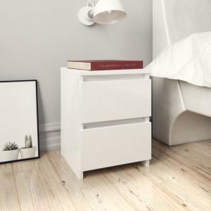 Noptiere, 2 buc., alb foarte lucios, 30 x 30 x 40 cm, PAL - V800526V