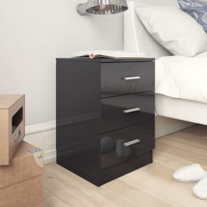 Noptiere, 2 buc., negru extralucios, 38 x 35 x 56 cm, PAL - V800465V