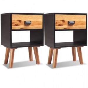 Noptiere din lemn de salcam 2 buc. 40x30x58 cm - V243177V