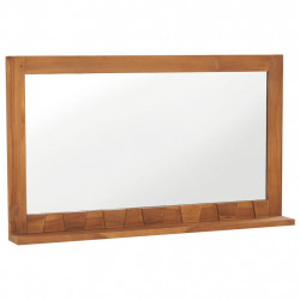 Oglinda de perete cu raft, 100x12x60 cm, lemn masiv de tec - V289072V