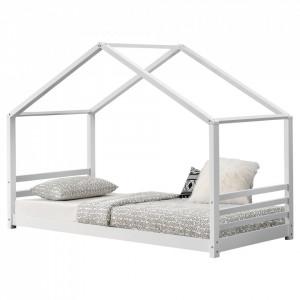 Pat copii Colibri, 206 x 98 x 142 cm, lemn, alb cu gratar pat, de la 3 ani - P65915815