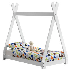Pat copii Indira 1, 148 x 76 x 140 cm, material design lemn de brad, alb mat - P57820283