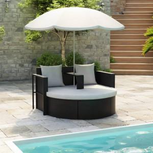 Pat de gradina cu umbrela de soare, negru, poliratan - V40735V