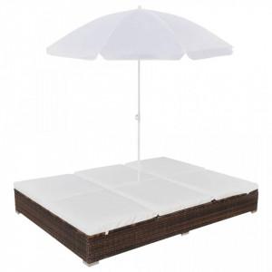 Pat sezlong de exterior cu umbrela, maro, poliratan - V42949V
