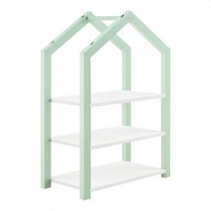 Raft pentru copii Mayen MG, 85 x 60 x 30 cm, lemn/MDF, verde menta/alb mat lacuit - P71354186