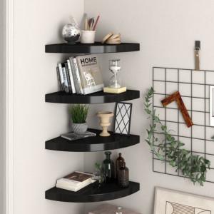 Rafturi coltar de perete, 4 buc., negru, 35 x 35 x 3,8 cm, MDF - V323921V