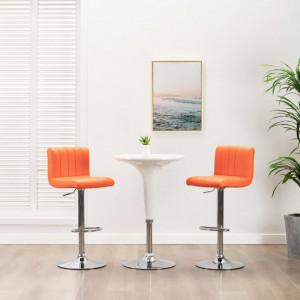 Scaun de bar, portocaliu, piele ecologica - V249737V