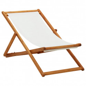 Scaun de plaja pliabil, alb crem, lemn de eucalipt & tesatura - V310314V