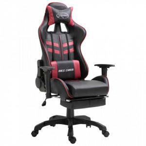 Scaun pentru jocuri, suport picioare, rosu vin, piele ecologica - V20207V