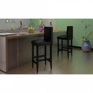 Scaune de bar, 4 buc., negru, piele ecologica - V160715V