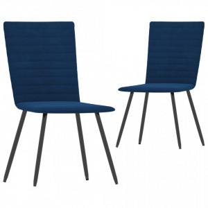 Scaune de bucatarie, 2 buc., albastru, catifea - V287804V