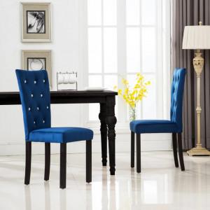 Scaune de bucatarie, 2 buc., albastru inchis, catifea - V246490V