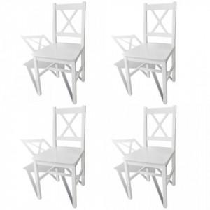 Scaune de bucatarie, 4 buc., alb, lemn de pin - V241511V