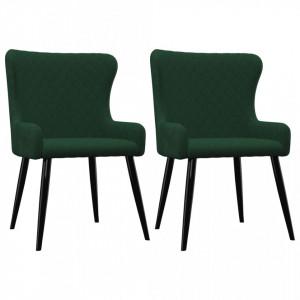 Scaune de sufragerie, 2 buc., verde, catifea - V282526V