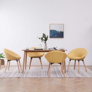 Scaune de sufragerie, 4 buc., galben, material textil - V278109V
