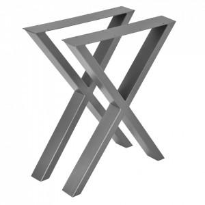 Set 2 bucati picioare masa in forma X, 59 x 72 cm, metal, gri metal - P57353529
