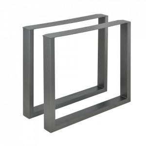 Set 2 bucati picioare masa/mobilier Model 4, 80 x 72 cm, metal, gri metal - P57353517