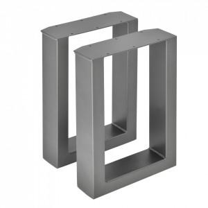 Set 2 bucati picioare masa/mobilier Model 6, 30 x 43 cm, metal, gri metal - P57353527