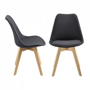 Set 2 bucati scaune bucatarie Frederikstad DG, 97 x 42 x 48 cm, poliester/lemn de fag, gri inchis - P71663198