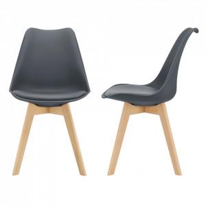 Set 2 bucati scaune design Tori, 81 x 49 x 57cm, imitatie piele, lemn de fag, gri - P67291229