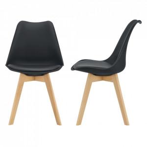 Set 2 bucati scaune design Tori, 81 x 49 x 57cm, imitatie piele, lemn de fag, negru - P67291226