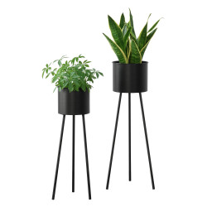 Set 2 bucati suport flori Dalhem, metal, negru, masuri diferite - P73583784