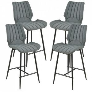 Set 4 bucati scaune bar Planica, 102,5 x 46,5 cm, poliester/metal, gri inchis - P58616391