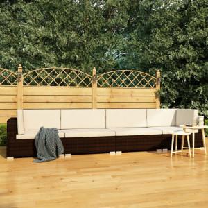 Set canapele de gradina cu perne, 4 piese, maro, poliratan - V47269V