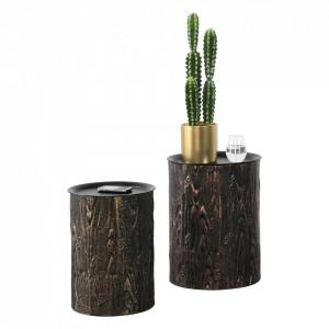 Set doua masute cafea Herstal, metal, negru/efect scoarta copac, masuri diferite cu blat detasabil - P73583781