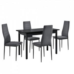 Set elegant Diana masa cu 4 scaune, masa 120 x 60 x 75 cm, scaun 96 x 43 x 52 cm, MDF/metal, negru/gri - P61844465