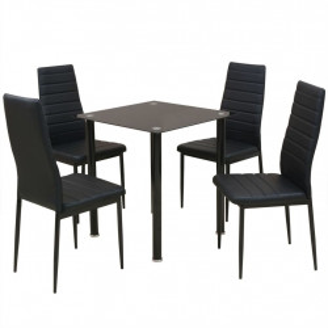 Set masa si scaune de bucatarie, 5 piese, negru - V242933V
