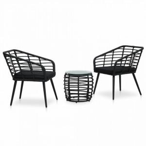 Set mobilier de bistro, 3 piese, negru, poliratan - V48579V