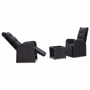 Set mobilier de bistro cu perne, 3 piese, negru, poliratan - V46067V